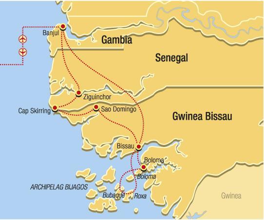 Guinea Bissau, Senegal, Gambie - Polynésie Atlantiku