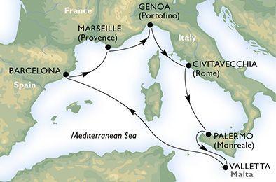 MSC Splendida - Itálie, Francie, Španělsko, Tunisko, Sicílie