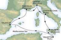 MSC Preziosa - Itálie, Sicílie, Malta, Španělsko, Francie