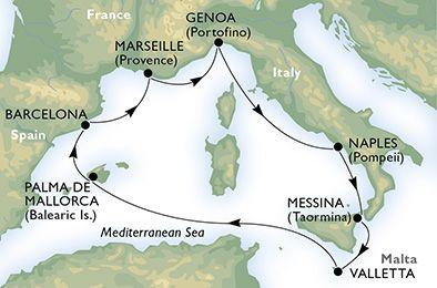 MSC Poesia - Itálie, Sicílie, Malta, Španělsko, Francie