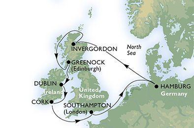 MSC Splendida - Německo, Velká Británie, Irsko