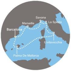 Costa Diadema - Španělsko, Baleárské ostrovy, Francie, Itálie