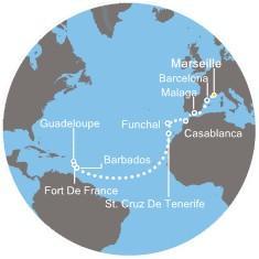 Costa Favolosa - Španělsko, Maroko, Portugalsko, the Kanárské ostrovy, Martinik, Guadeloupe