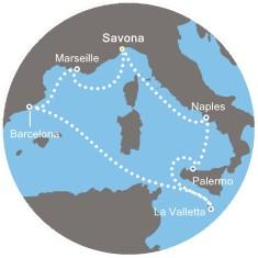 Costa Mediterranea - Itálie, Malta, Španělsko, Francie