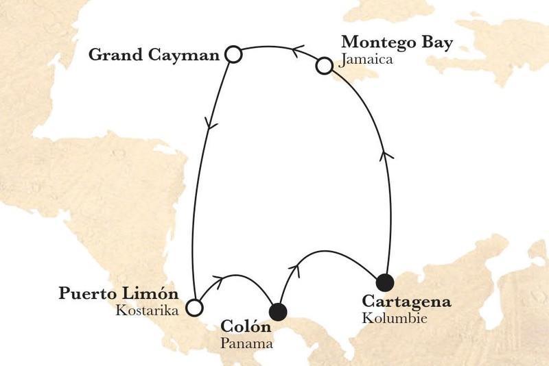 Legendy Karibiku (z Cartageny) na lodi Monarch  AI